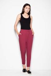 Bordowe damskie spodnie z zaszewkami