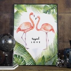 Plakat w ramie - tropical love , wymiary - 70cm x 100cm, ramka - biała