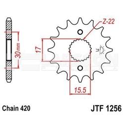 Zębatka przednia jt f1256-14, 14z, rozmiar 420 2200708 honda crf 70
