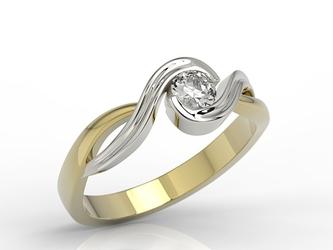Pierścionek zaręczynowy z żółtego i białego złota z diamentem ap-7527zb