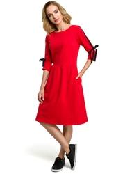 Prosta bawełniana sukienka z wiązaniem na rękawach czerwona m388