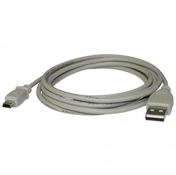 Kabel USB 2.0, USB A  M- USB mini 5pin M, 3m, czarny, Logo
