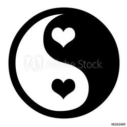 Obraz na płótnie canvas trzyczęściowy tryptyk yin yang z sercami