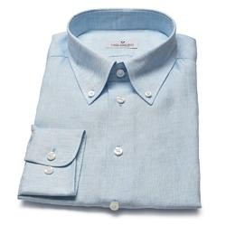 Błękitna lniana koszula VAN THORN z kołnierzem na guziki 38