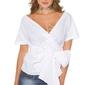 Biała bawełniana koszula wiązana w pasie kokardą h9495