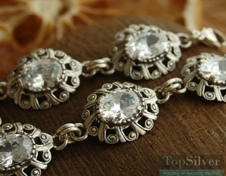 Marlin - srebrna bransoletka z kryształem