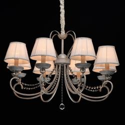 Żyrandol z białymi abażurami, biało-złoty, ozdobne kryształki mw-light elegance 419011708