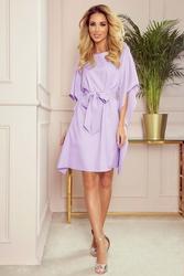 Sukienka typu motyl z paskiem - jasny wrzos