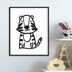 Scandi tiger - plakat dla dzieci , wymiary - 60cm x 90cm, kolor ramki - czarny