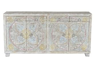 Drewniana komoda mandala w orientalnym stylu