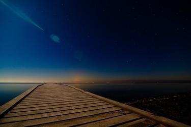 Fototapeta na ścianę wieczór na drewnianym pomoście fp 3978