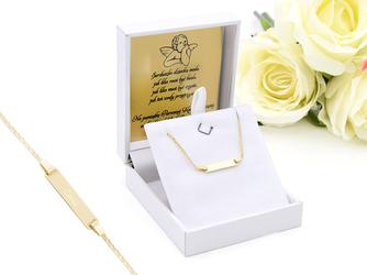 Bransoletka łańcuszek z blaszką złoto 333 z regulacją GRAWER niebieska kokardka - Białe z niebieską kokardką