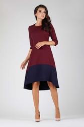 Bordowa wyjściowa asymetryczna sukienka z kontrastowym dołem