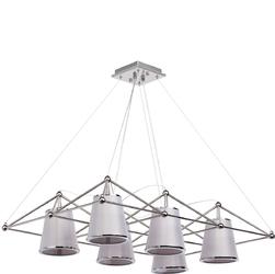 Nowoczesna lampa wisząca ze stali nierdzewnej ze srebrnymi abażurami Chiaro 612010306
