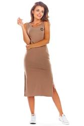 Bawełniana dopasowana beżowa sukienka z rozporkami