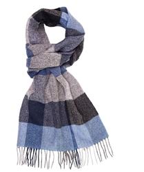 Elegancki szal w niebieska i szarą kratę z wełny z kaszmirem