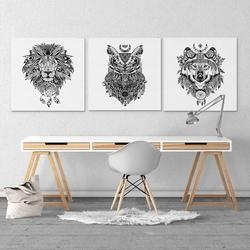 Aztec power - komplet trzech obrazów na płótnie , wymiary - 40cm x 40cm 3 sztuki