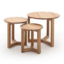 Drewniany dębowy stolik kawowy faye  zestaw 3 stolików