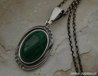 DUOMO - srebrny wisiorek malachit z kryształami
