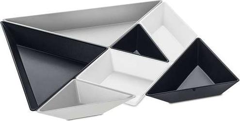 Tace do serwowania przekąsek tangram ready 7 el. czarno-białe