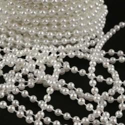 Dekoracyjne perły na sznurku 4mm1m - biały - białe
