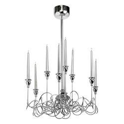 Tradycyjna lampa sufitowa 9 świec RegenBogen chromowana 652010109