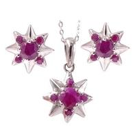 Sandra komplet srebrnej biżuterii rubin gwiazdki 3 ct.