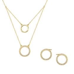 komplet biżuterii koła z pozłacanym srebrem z cyrkoniami