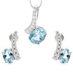 Nina ; komplet srebrnej biżuterii z blue topaz
