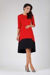 Czerwona wyjściowa asymetryczna sukienka z kontrastowym dołem