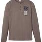 Shirt z dekoltem henley, długi rękaw bonprix brązowy
