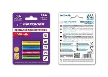 Akumulatorki aaa esperanza 1000mah 4szt. mix kolorów