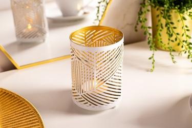 Świecznik szklany ozdobny dekoracyjny w metalowej osłonie altom design biało-złoty 7,5 x 11 cm