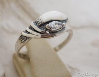 Bebel - srebrny pierścionek z kryształem swarovskiego