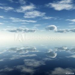 Plakat na papierze fotorealistycznym odbicie chmur