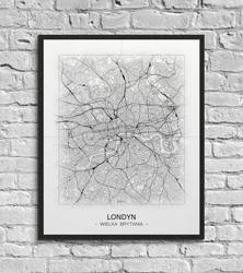 Londyn - czarno-biała mapa