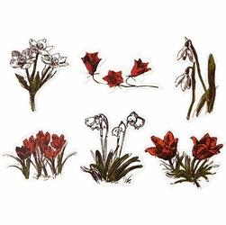 Drewniane kwiatki w stylu Oslo - zestaw 6 sztuk