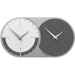 Zegar ścienny - 2 strefy czasowe world clock calleadesign szary  biały 12-009-3