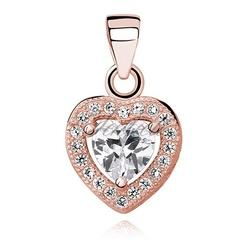 Srebrna zawieszka pr.925 serce z białą cyrkonią - różowe złoto - różowe złoto  biała