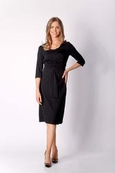 Dzianinowa Czarna Sukienka z Elementami Drapowania