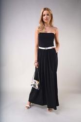Czarna maxi sukienka z odkrytymi ramionami