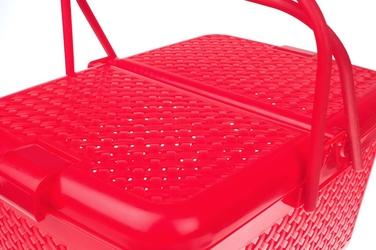 Koszyk piknikowy prostokątny czerwony