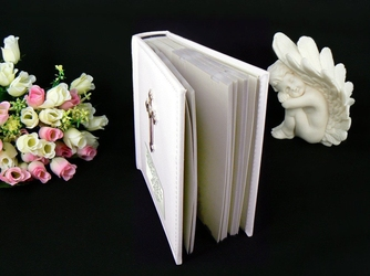 Album biały skóra krzyż dedykacja chrzest roczek