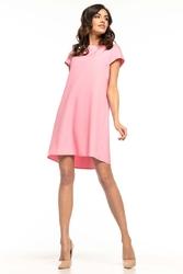 Różowa wizytowa sukienka o kroju litery a z kontrafałdą