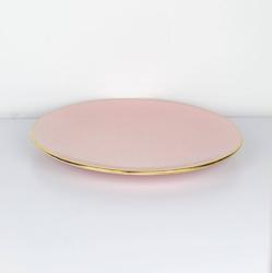 Majolika nieborów :: talerz obiadowy l złoto-różowy śr. 28 cm