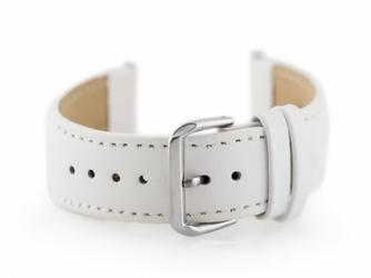 Pasek skórzany do zegarka W30 - w pudełku - biały - 22mm