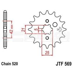 Zębatka przednia jt f569-13, 13z, rozmiar 520 2200843 yamaha yfz 350, yfm 125, kawasaki kx 500