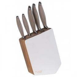 Husla zestaw 5 noży kuchennych w bloku z drewna akacjowego