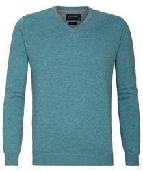 Turkusowy sweter  pulower v-neck z bawełny pima  xxl
