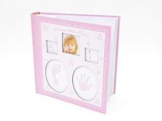 Album różowy dłoń, stopa, ząbek i włos 10 x15 prezent na chrzest z grawerem - różowy